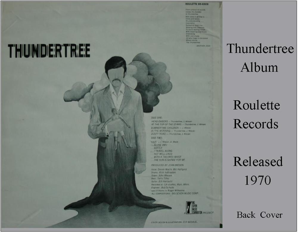 Thundertree - Original Roulette Records Album Back Cover (1970)