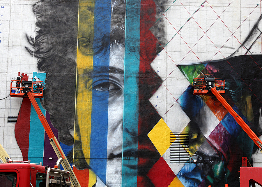 The blank white wall facing the corner of 5th and Hennepin Ave shot Saturday August 29, 2015. The 'canvas' for a mural by Brazillian artist Kobra- with multiple images of Bob Dylan.
