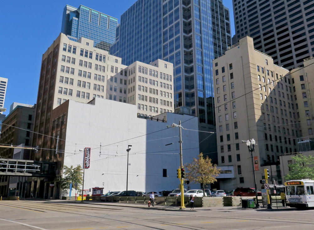 The blank white wall facing the corner of 5th Street and Hennepin Avenue will become the canvas for a mural by Brazillian artist Kobra with an image of Bob Dylan