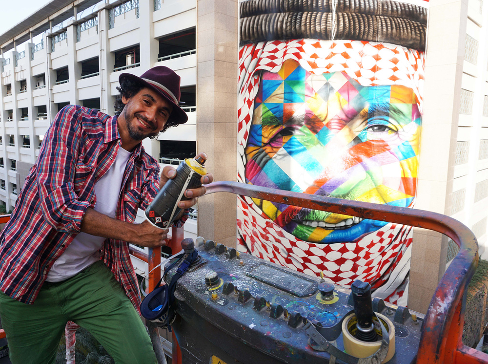 Brazilian artist Kobra at work on a mural
