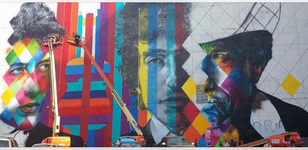 Bob Dylan Mural by Eduardo Kobra / The 15 Building / 15 South 5th Street at Hennepin Avenue / Minneapolis, Minnesota / August 30th, 2015 / Photo by Michael Gittelson