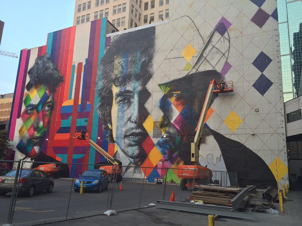 Bob Dylan Mural by Eduardo Kobra / The 15 Building / 15 South 5th Street at Hennepin Avenue / Minneapolis, Minnesota / August 31st, 2015 / Photo by Basha Goldwater