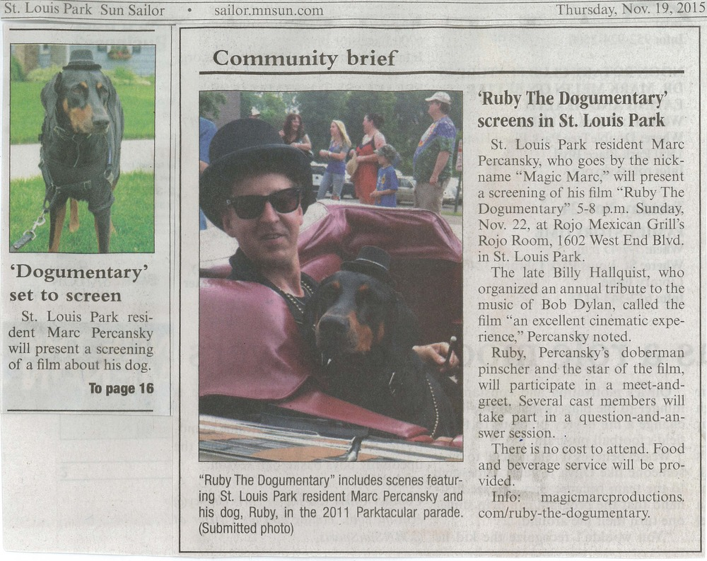 'Ruby The Dogumentary' screens in St. Louis Park /  Sun Sailor  / Thursday, Nov. 19, 2015 / Pages 1 & 16