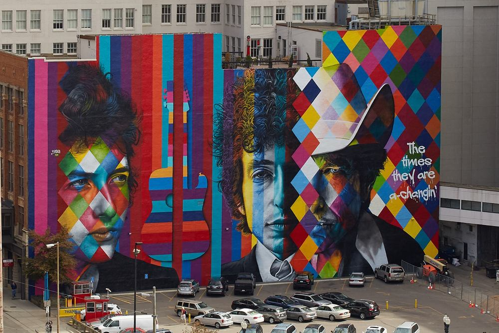 Eduardo Kobra x Bob Dylan Mural  / The 15 Building / 15 South 5th Street at Hennepin Avenue / Minneapolis, Minnesota / September 16th, 2015 / Final Photo by Bill Hickey