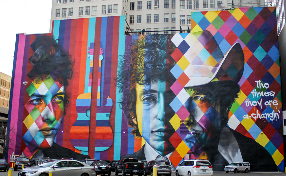 Bob Dylan Mural by Eduardo Kobra / The 15 Building / 15 South 5th Street at Hennepin Avenue / Minneapolis, Minnesota / © 2015  Scott Berglund Photography