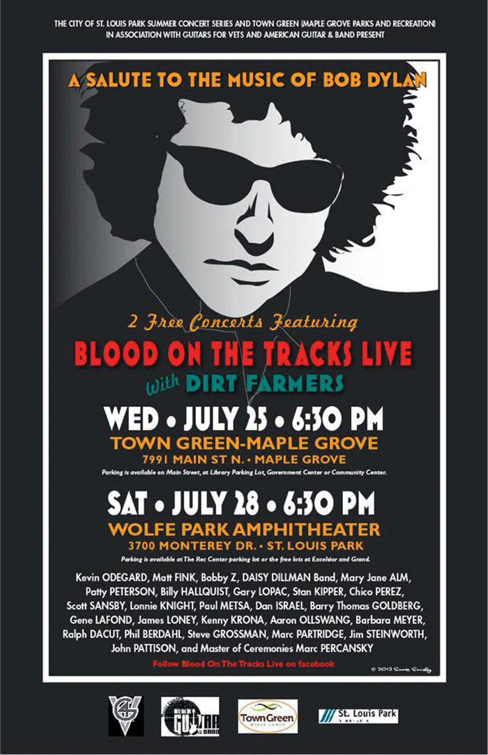 A poster for the 2012 Salute to the Music of Bob Dylan announces performances in St. Louis Park and Maple Grove. (Submitted art)