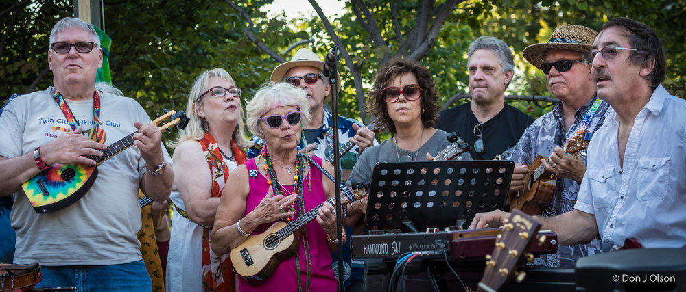 Twin Cities Ukelele Club and Jim Steinworth / The Veterans' Memorial Wolfe Park Amphitheater / St. Louis Park, Minnesota / July 29th, 2017