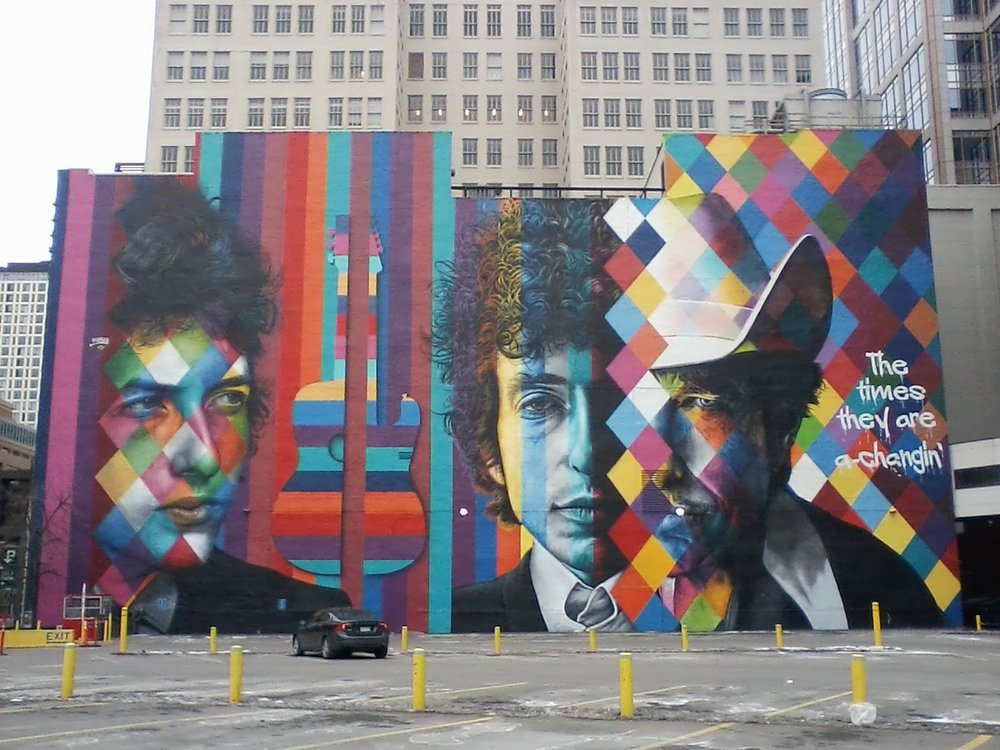 Bob Dylan Mural by Eduardo Kobra / The 15 Building /  15 South 5th Street  at Hennepin Avenue / Minneapolis, Minnesota / December 24th, 2017 / Photo by Marc Percansky