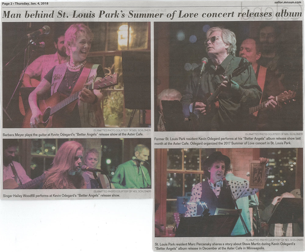 Man behind St. Louis Park's Summer of Love concert releases album  SUN SAILOR ST. LOUIS PARK Thursday, January 4, 2018 Page 2