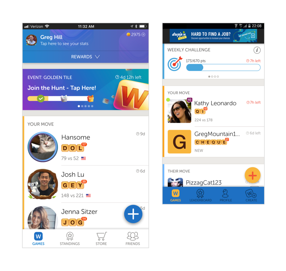 Final Words With Friends 2 Gameslist (left) and original beta version (left)