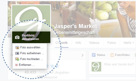 Profilbild für Facebook-Fanpage aktualisieren (Quelle: Facebook für Unternehmen)
