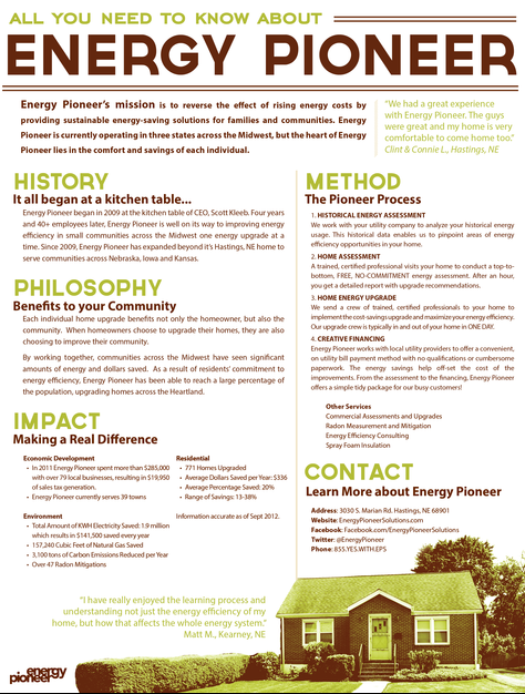 One pager designed to explain the Energy Pioneer process to prospective clients and investors.