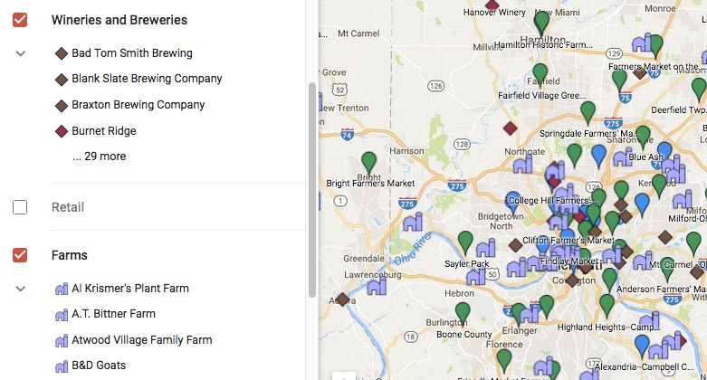 View Google Map of Cincinnati Region Local Food