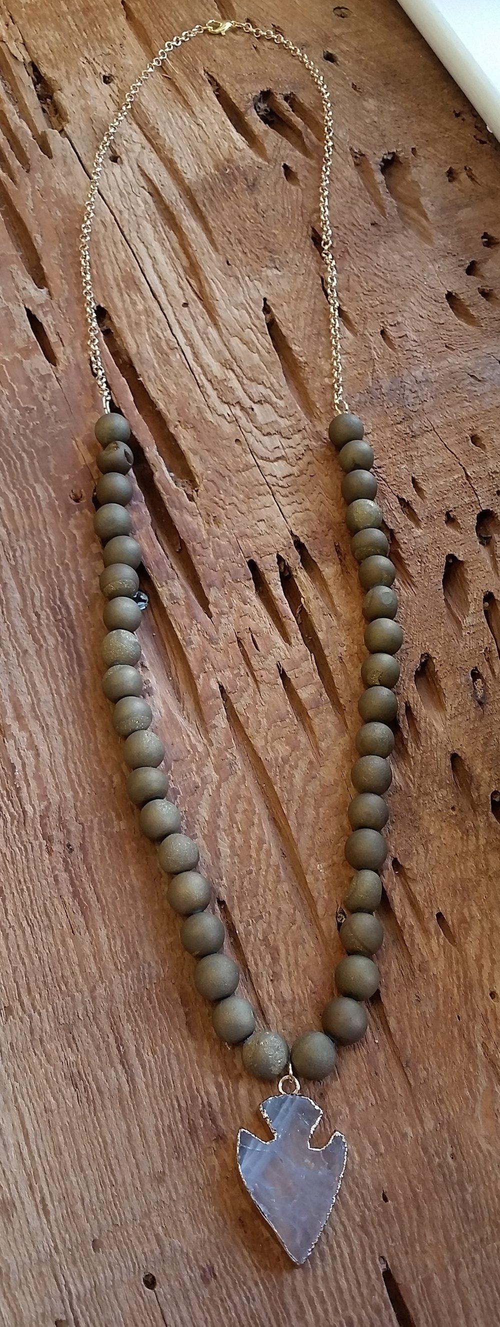 Olive Druzy Necklace w:Pendant.jpeg