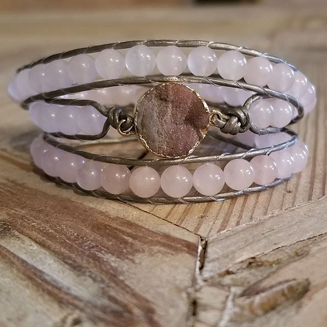 Playing around on this rainy Labor Day...Druzy and Rose Quartz Triple Wrap.