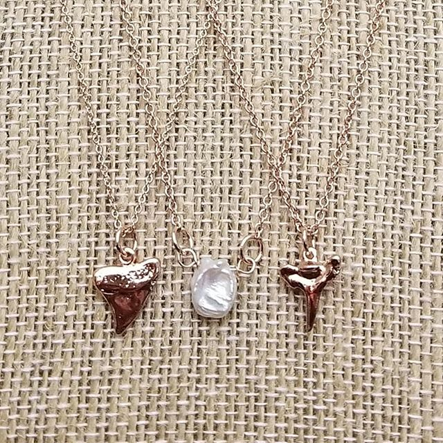Shark teeth, a pearl and some rose gold! I can't even take it....cuteness overload with these necklaces!!