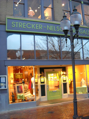 The Strecker-Nelson Gallery is the oldest commercial art gallery in Kansas. It is located on the main street, Poyntz Avenue, There is more than 5000 sq ft for display and approximately 150 artists are represented in all media.