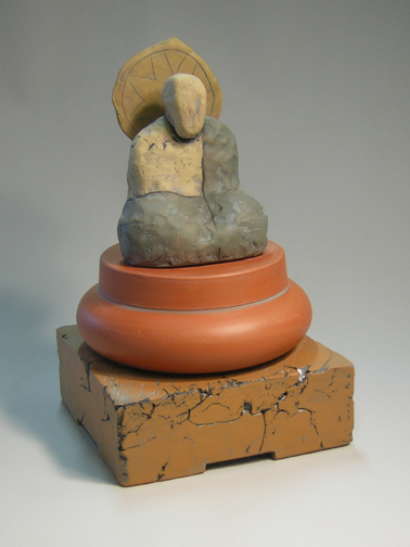 Dark Robed Seated Buddha on Double Round and Square Base   $250