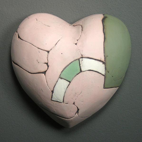 Pink & Green Wall Heart  5x5.5x2 earthenware  $50