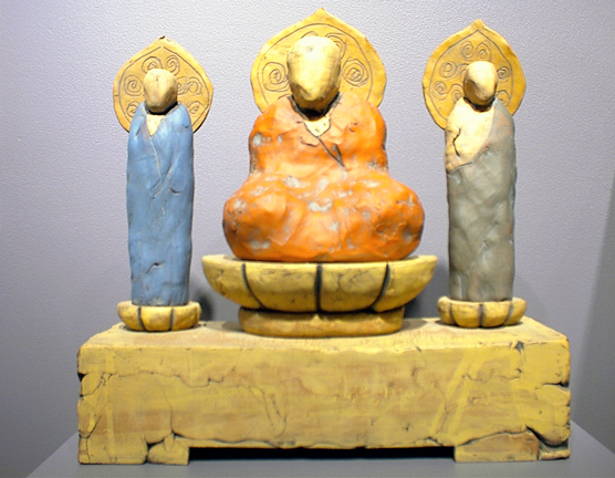 Seated Buddha with Two Attendants   13x4x12  ceramic   $275