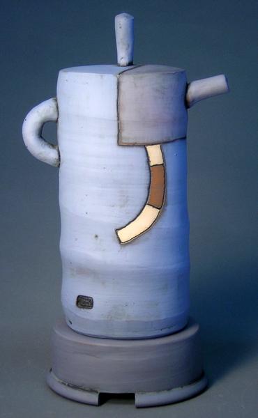 Tall Blue Teapot  15x4x7 earthenware $250