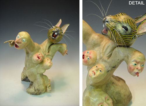 A Rabbit Can Scream  approx. 12x12  papier mache, driftwood  $1,200