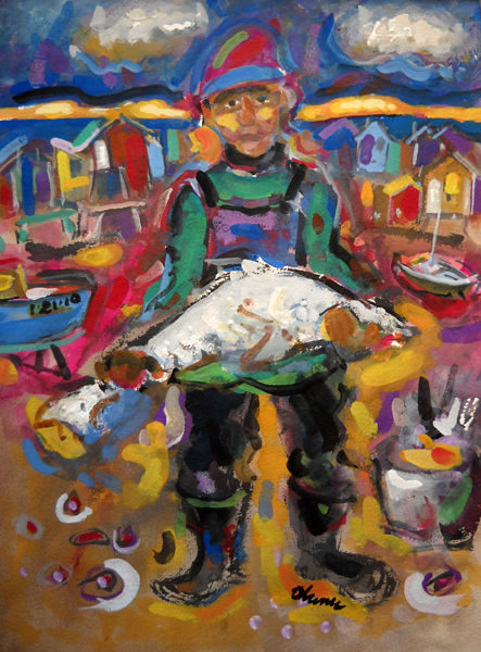 Darrell with Fish  15.5x11.5  gouache  $720 fr