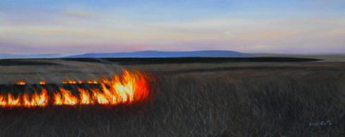 Flames at Moonrise 24x60 oc $4,200