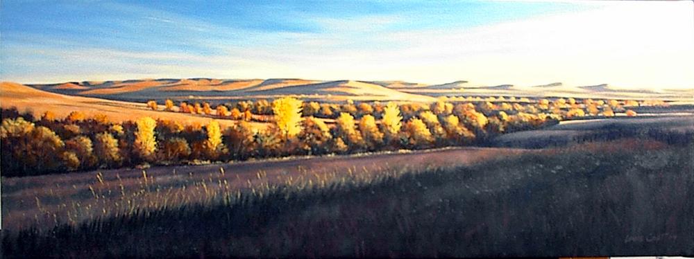 Konza Prairie at Sunset 15 x 40 oc $1,500 uf