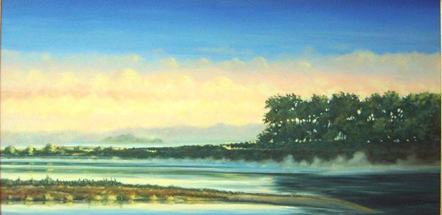 Morning Fog Kansas River 24 x 48 $3,950