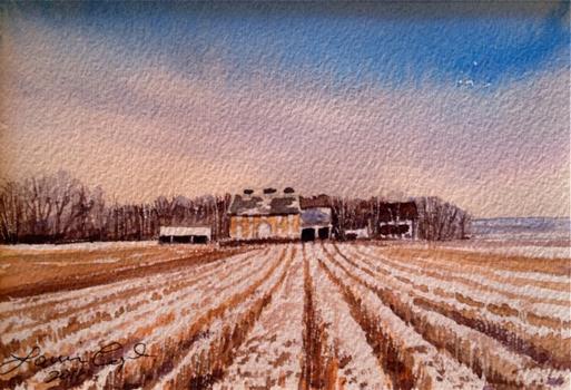 Taylor Farm, Winter 5x7 wc $190