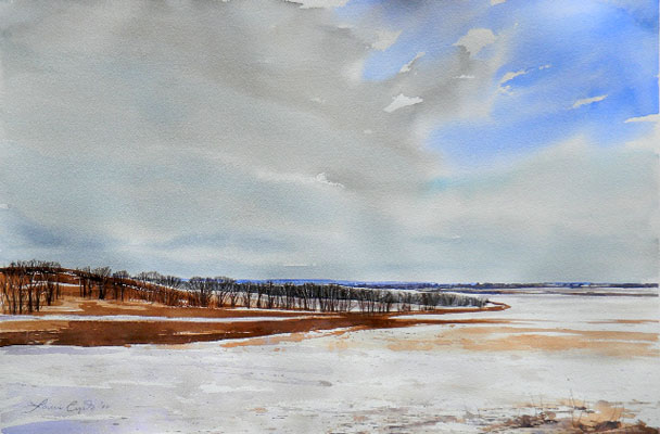 Winter Landscape 15x22 wc $950