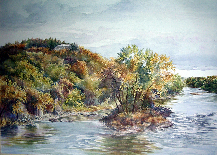 Smoky Hill River 20x28 wc $1,700
