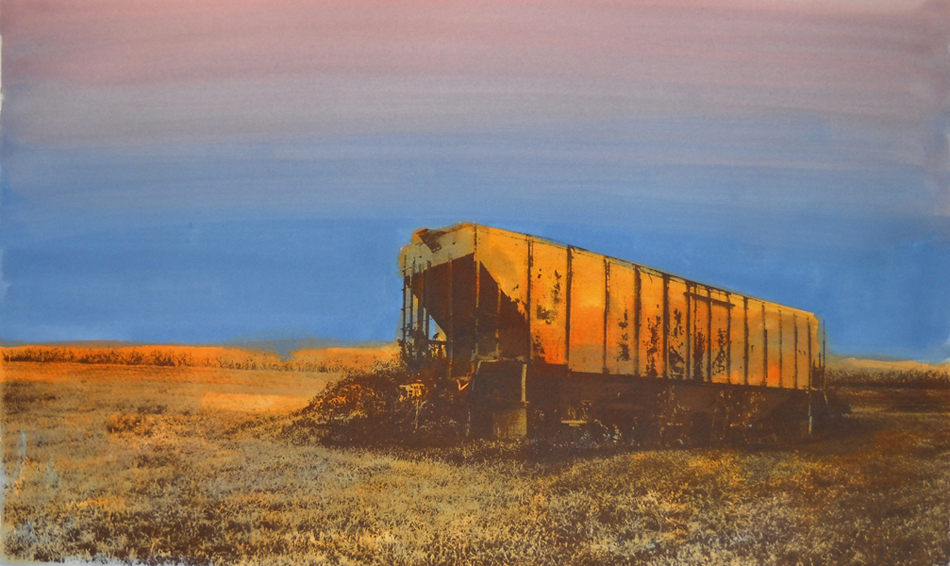 Derailed  16x26  acrylic & serigraph on paper (edition of 10)  $750