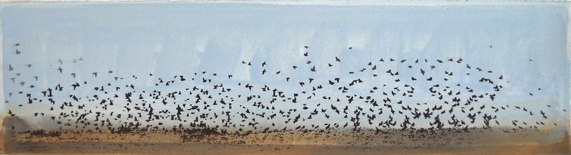 Floodplain Red-Wings Gather  4x17  acrylic & serigraph on paper  $390 SOLD