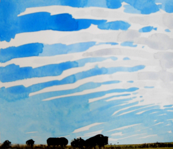 Noonday Prairie Wind  6x7  acrylic & serigraph on paper  $350