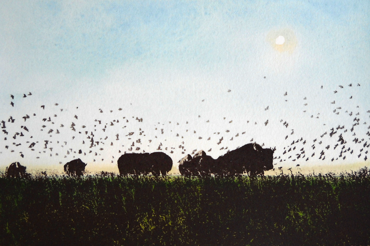 Prairie - Shimmering  4x6  acrylic & serigraph on paper  $280