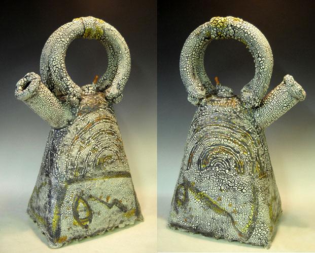 Arc Teapot (two views) 28x17x8 ceramic