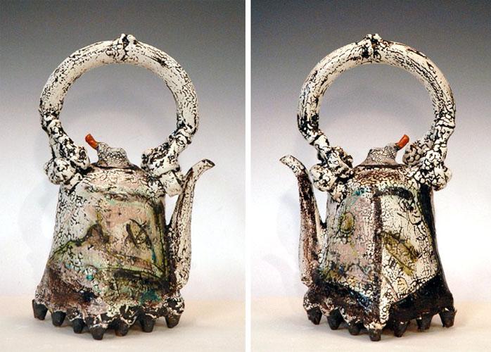 Black Foot Teapot (two views) 16x8x9 ceramic