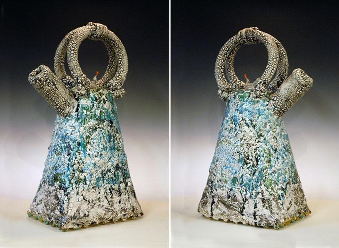 Ocean Foam Teapot (two views)  28x17x10 ceramic