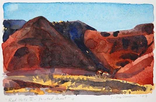 Red Hills II - Painted Desert 3x5 wc $260