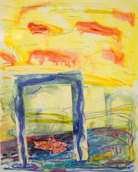 Fish That Fly  10x8  wc monotype  $400