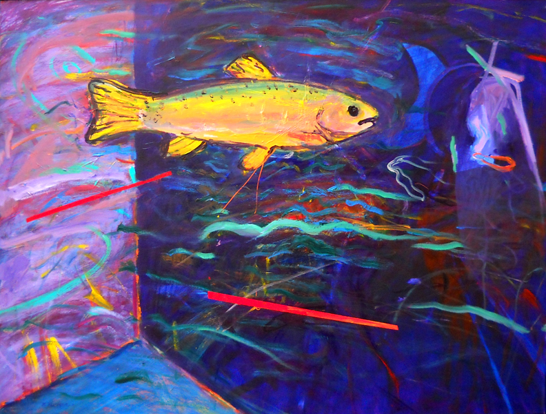 Trout Revisited  32x42  ac  $1,500