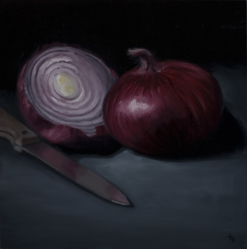 Red Onions and Knife 8x8 oc $500