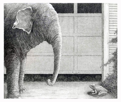 E is for Elephant and F is for Frog  8x9 etching  $275