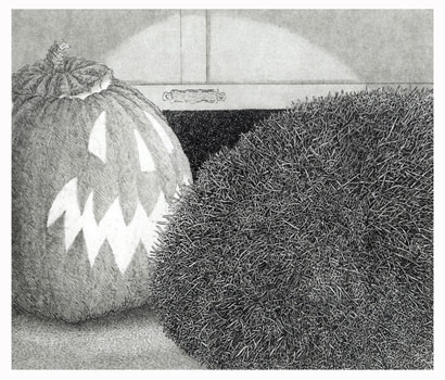 H is for the Halloween Hedgehog  8x9  etching  $275