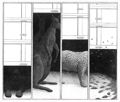 J is for Jaguar, K is for Kangaroos, L is for Leopard, M is for Mice and Moths  8x9  etching  $275