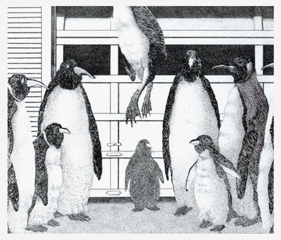 P is for a Penguin lynch mob  8x9  etching  $275