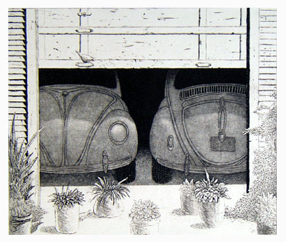 V and W are for two VW's in Springtime  8x9  etching  $275