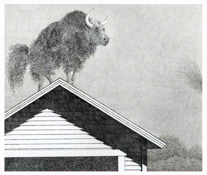 Y is for two Yaks a-leaping  8x9  etching  $275
